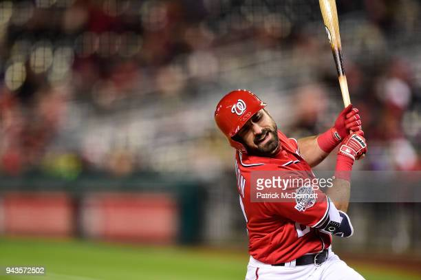 Adam Eaton of the Washington Nationals reacts after being hit by a pitch from Matt Harvey of the New York Mets in the fourth inning at Nationals Park...