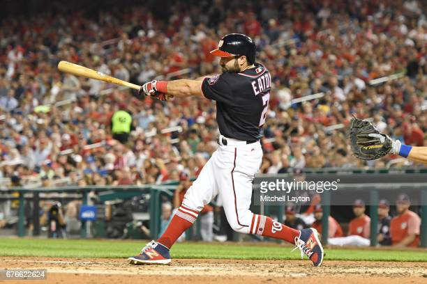 Adam Eaton of the Washington Nationals takes a swing during a baseball game against the New York Mets at Nationals Park on April 28 2017 in...