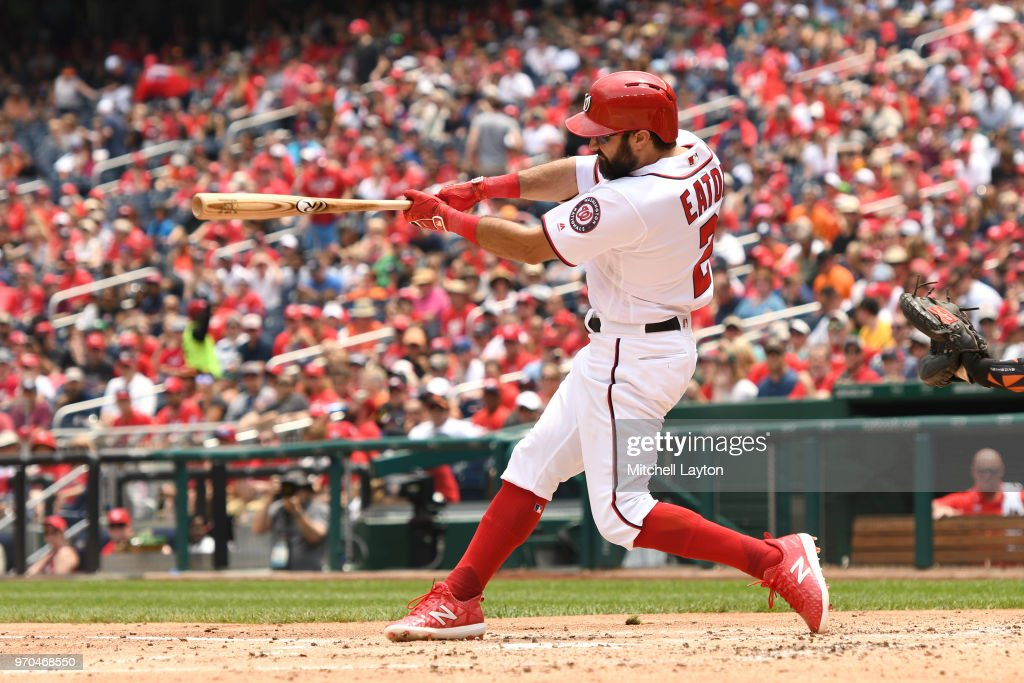Adam Eaton #2 of the Washington Nationals takes a swing in his return to the line up in the third inning during a baseball game against the San Francisco Giants at Nationals Park on June 9, 2018 in Washington, DC.