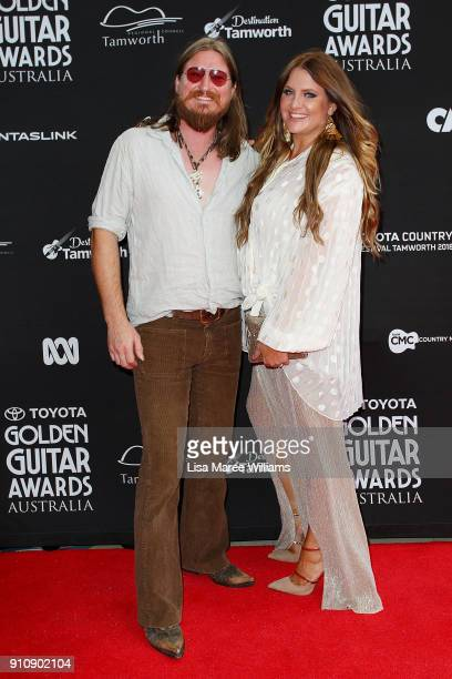 Adam Eckersley and Brooke McClymont arrive at the 2018 Toyota Golden Guitar Awards on January 27 2018 in Tamworth Australia