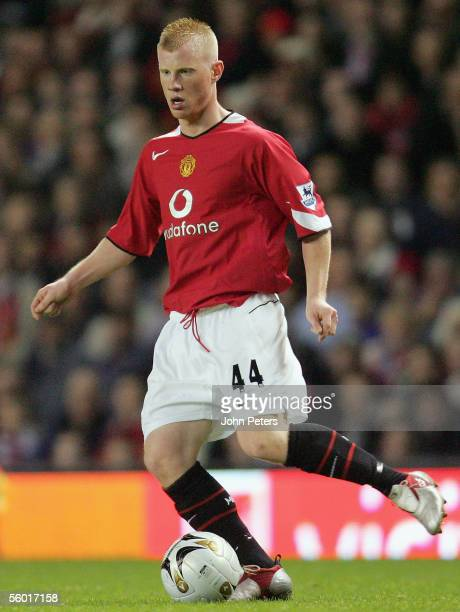 Adam Eckersley of Manchester United in action during the Carling Cup third round match between Manchester United and Barnet at Old Trafford on...