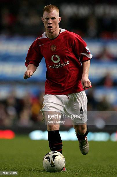 Adam Eckersley of Manchester United moves the ball during the Carling Cup third round match between Manchester United and Barnet at Old Trafford on...