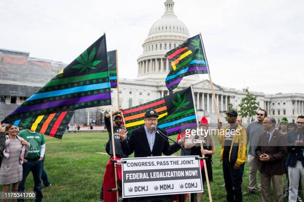 Adam Eidinger, founder of DCMJ speaks during a rally at the U.S. Capitol to call on Congress pass cannabis reform legislation on Tuesday, Oct. 8,...