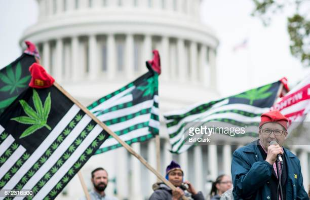 Adam Eidinger founder of DCMJorg speaks during the groups' protest in front of the US Capitol on Monday April 24 to call on Congress to reschedule...