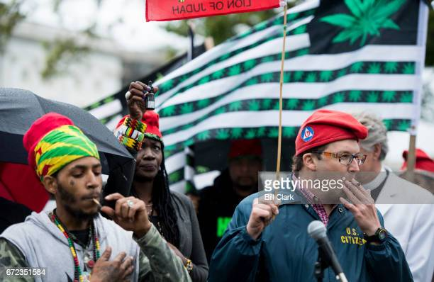 Adam Eidinger right founder of DCMJorg and several other marijuana activists were arrested by US Capitol Police after smoking marijuana in front of...