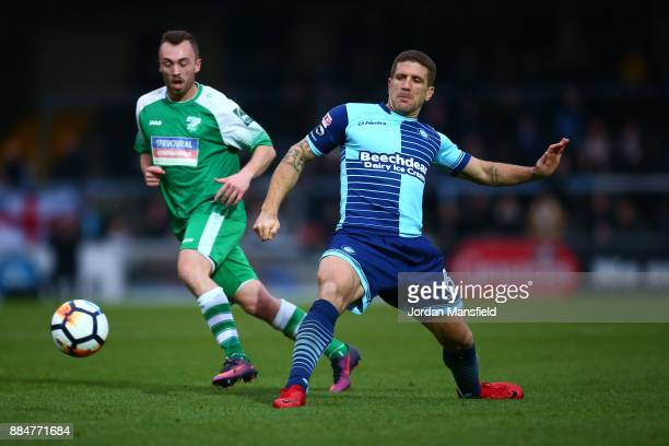 Adam ElAbd of Wycombe Wanderers passes the ball during The Emirates FA Cup Second Round between Wycombe Wanderers and Leatherhead at Adams Park on...