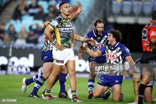 Adam Elliott of the Bulldogs celebrates scoring a try during the round 10 NRL match between the Canterbury Bulldogs and the Parramatta Eels at ANZ...