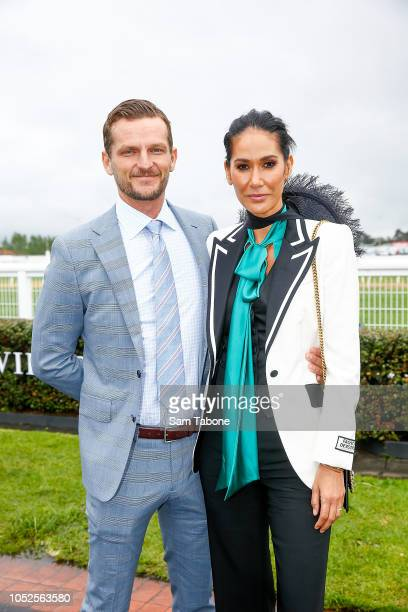 Adam Ellis and Lindy RamaEllis attends 2018 Caulfield Cup Day at Caulfield Racecourse on October 20 2018 in Melbourne Australia