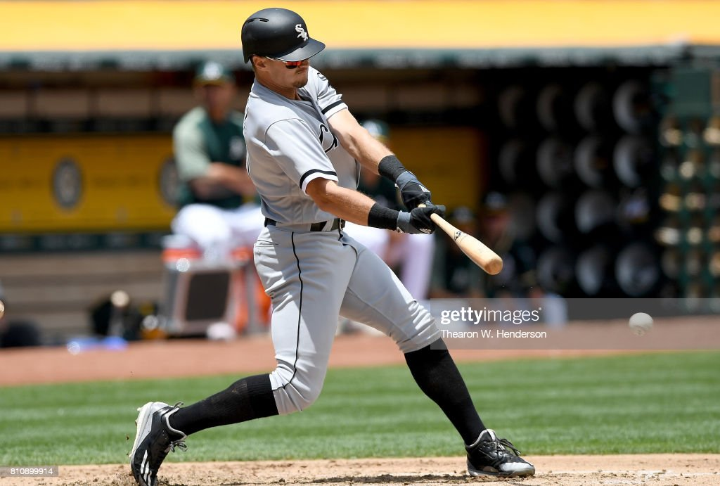 Adam Engel #41 of the Chicago White Sox bats against the Oakland Athletics in the top of the third inning at Oakland Alameda Coliseum on July 5, 2017 in Oakland, California.