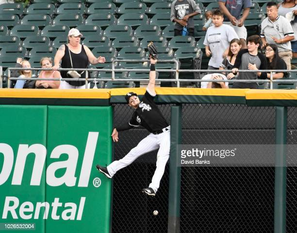 Adam Engel of the Chicago White Sox can't catch a home run hit by Niko Goodrum of the Detroit Tigers during the seventh inning on September 3 2018 at...