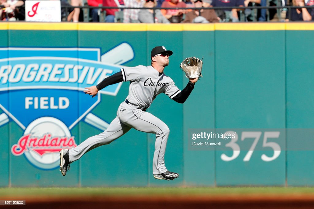 Adam Engel #41 of the Chicago White Sox catches a sacrifice fly ball hit by Carlos Santana #41 of the Cleveland Indians to score Jose Ramirez #11 in the first inning at Progressive Field on October 1, 2017 in Cleveland, Ohio. The Indians defeated the Whits Sox 3-1.