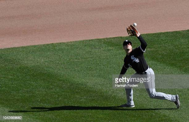 Adam Engel of the Chicago White Sox catches the ball hit by Ehire Adrianza of the Minnesota Twins in center field during the sixth inning in game one...