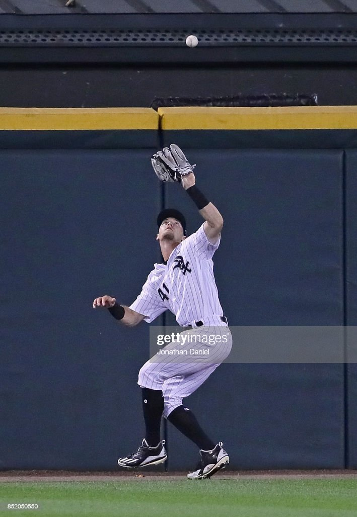 Adam Engel #41 of the Chicago White Sox makes a catch in center field against the Kansas City Royals at Guaranteed Rate Field on September 22, 2017 in Chicago, Illinois.