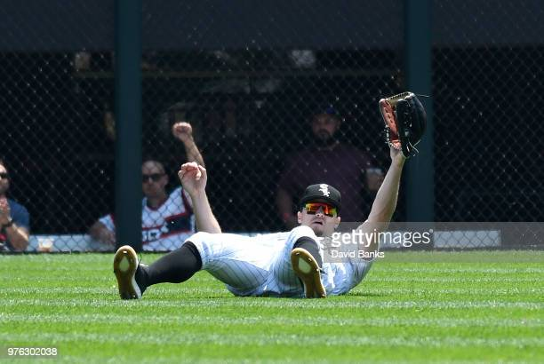Adam Engel of the Chicago White Sox makes a catch on Leonys Martin of the Detroit Tigers during the first inning on June 16 2018 at Guaranteed Rate...