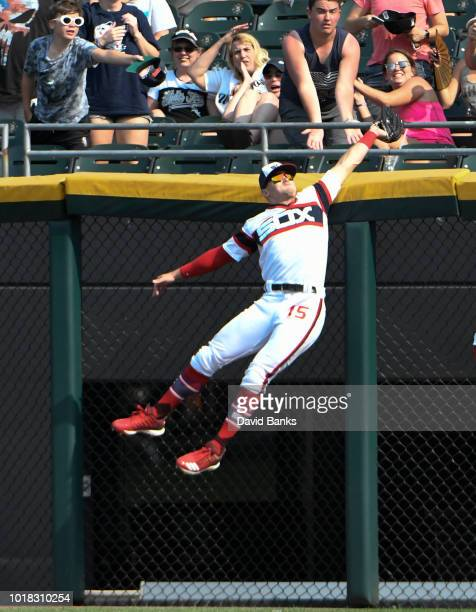 Adam Engel of the Chicago White Sox makes a catch on Yonder Alonso of the Cleveland Indians during the eighth inning on August 12 2018 at Guaranteed...