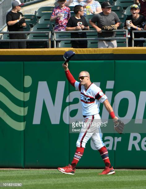 Adam Engel of the Chicago White Sox tips his cap after making a catch on Yonder Alonso of the Cleveland Indians during the eighth inning on August 12...