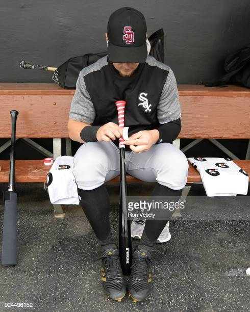 Adam Engel of the Chicago White Sox wraps his bat during the game against the Los Angeles Dodgers on February 23 2018 at Camelback Ranch in Glendale...