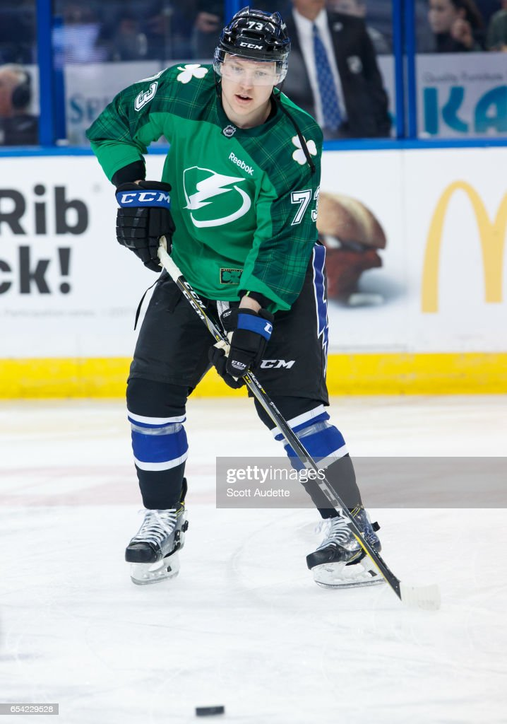 360b14cb3 Adam Erne of the Tampa Bay Lightning wears a green St Patrick's Day ...