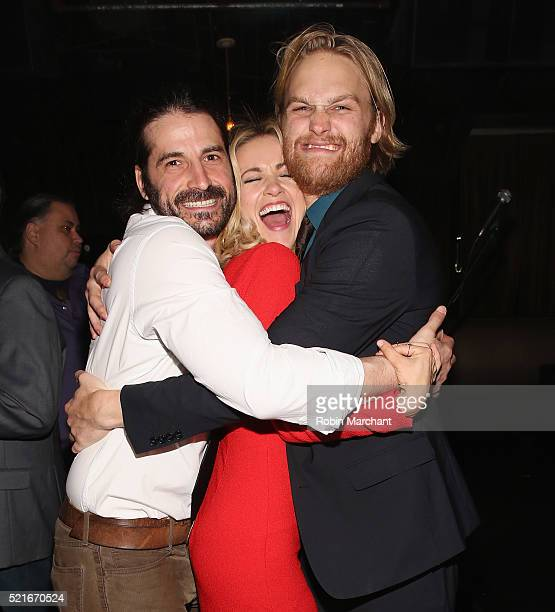 Adam Ezra Meredith Hagner and Wyatt Russell attend 2016 Tribeca Film Festival After Party For Folk Hero Funny Guy at 1OAK on April 16 2016 in New...