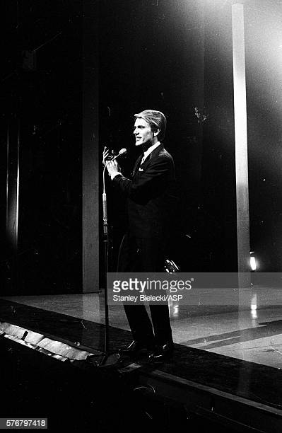Adam Faith performs on a TV show London circa 1965
