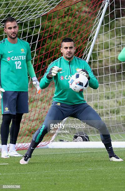 Adam Federici during a Australia National football team training session at The Academy of Light on May 24 2016 in Sunderland England