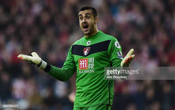 Adam Federici of AFC Bournemouth gestures during the Barclays Premier League match between Southampton and AFC Bournemouth at St Mary's Stadium on...