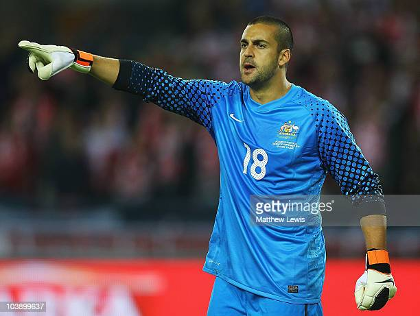 Adam Federici of Australia in action during the International Friendly match between Poland and Australia at the Wisla Krakow Stadium on September 7...