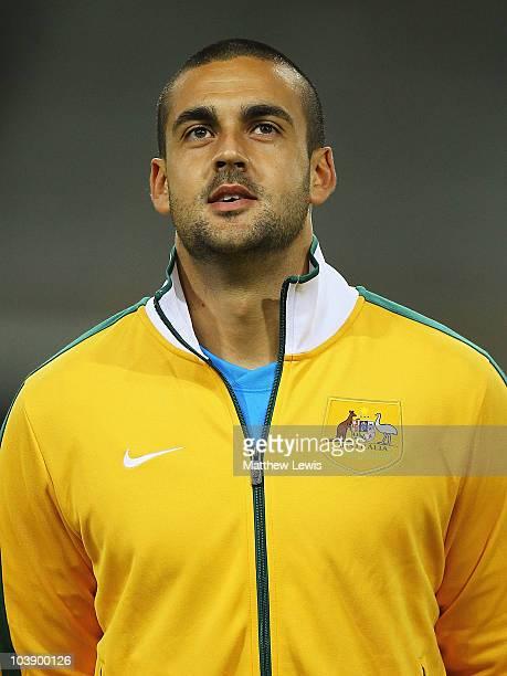 Adam Federici of Australia looks on ahead of the International Friendly match between Poland and Australia at the Wisla Krakow Stadium on September 7...