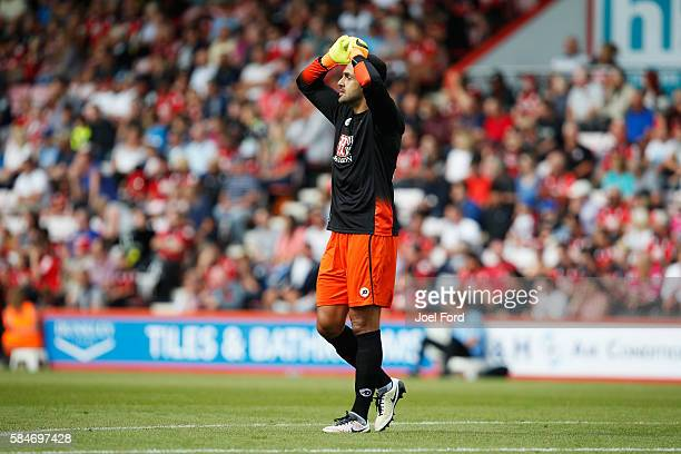 Adam Federici of Bournemouth during a preseason match between Bournemouth and Cardiff City at Goldsands Stadium on July 30 2016 in Bournemouth England