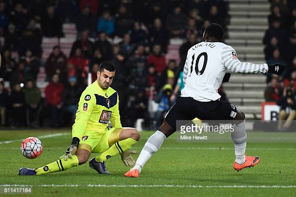 Adam Federici of Bournemouth makes a save a shot by Romelu Lukaku of Everton during the Emirates FA Cup fifth round match between AFC Bournemouth and...