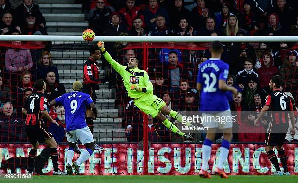 Adam Federici of Bournemouth makes a save during the Barclays Premier League match between AFC Bournemouth and Everton at Vitality Stadium on...