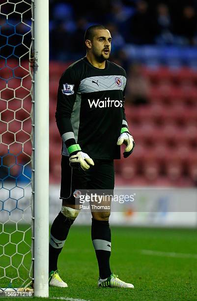 Adam Federici of Reading during the Barclays Premier League match between Wigan Athletic and Reading at the DW Stadium on November 24 2012 in Wigan...