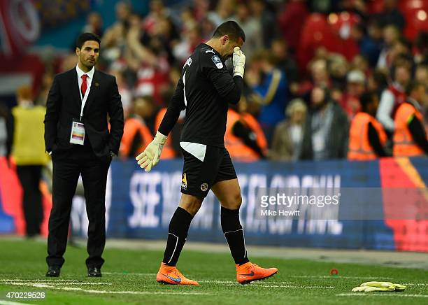 Adam Federici of Reading shows his emotions after defeat in the FA Cup Semi Final between Arsenal and Reading at Wembley Stadium on April 18 2015 in...