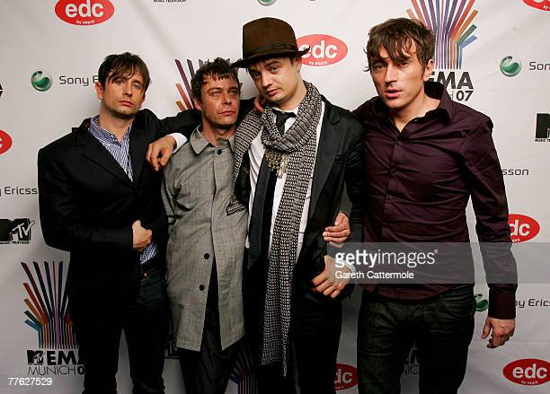 Adam Ficek Mick Whitnall Peter Doherty and Drew McConnell of Babyshambles pose in the Awards Room during the MTV Europe Music Awards 2007 at the...