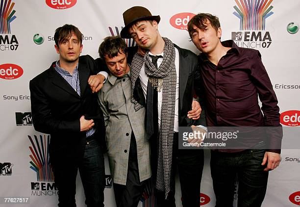 Adam Ficek Mick Whitnall Peter Doherty and Drew McConnell of Babyshambles poses in the Awards Room during the MTV Europe Music Awards 2007 at the...