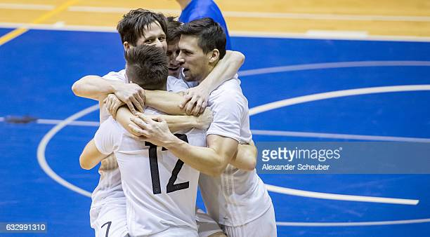 Adam Fiedler of Germany celebrates the second goal for his team during the UEFA Futsal European Championship Qualifying match between Estonia and...
