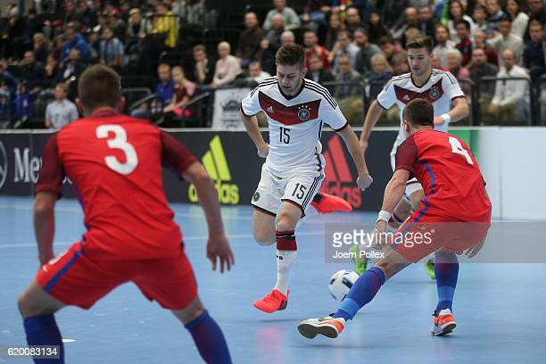 Adam Fiedler of Germany in action during the Futsal International Friendly match between Germany and England at Inselparkhalle on November 1 2016 in...