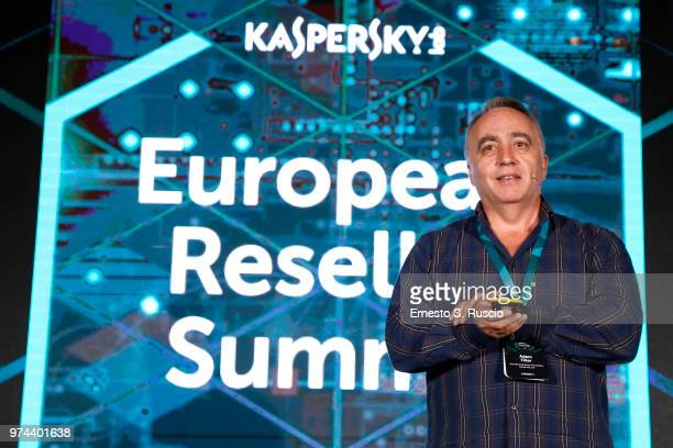 Adam Filler holds a speech at the Kaspersky Lab European Reseller Summit 2018 on June 12 2018 in Milano Marittima Cervia Italy Kaspersky Lab held its...