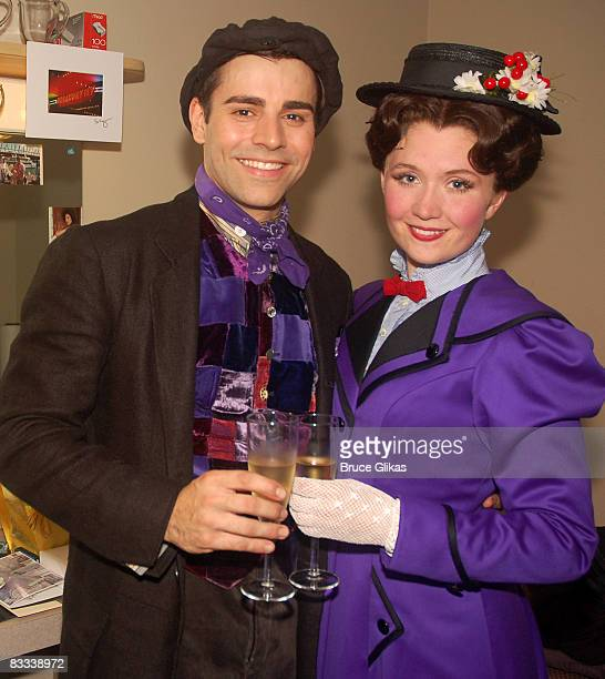 Adam Fiorentino as 'Bert' and Scarlett Strallen as 'Mary Poppins' pose backstage after a meet and greet for the new cast of Disney's 'Mary Poppins'...