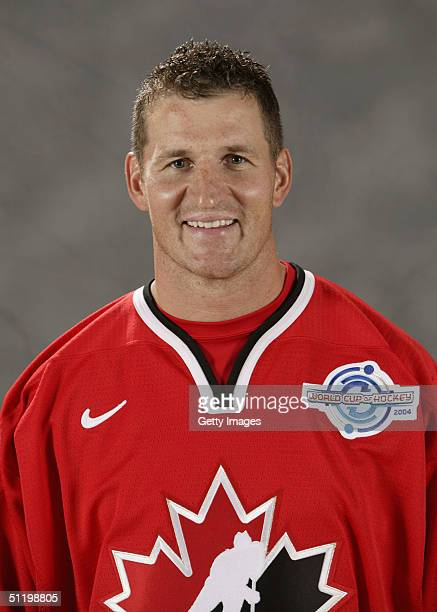 Adam Foote of Team Canada poses for a portrait during camp at the University of Ottawa Ottawa Ontario August 19 2004