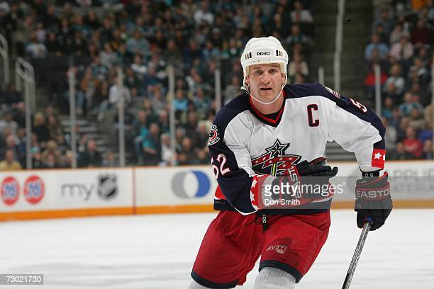 Adam Foote of the Columbus Blue Jackets skates during a game against the San Jose Sharks on January 6 2007 at the HP Pavilion in San Jose California...