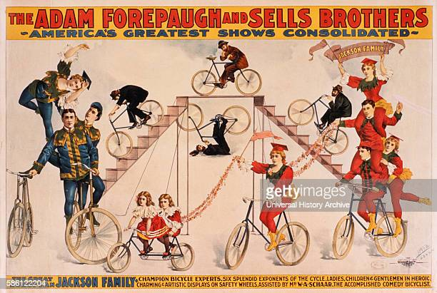 Adam Forepaugh and Sells Brothers America's Greatest Shows Consolidated The Great European Jackson Family Champion Bicycle Experts Circus Poster...