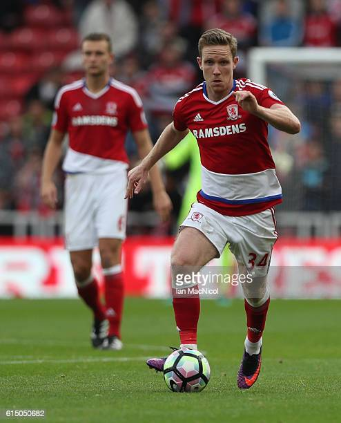 Adam Forshaw of Middlesborough controls the ball during the Premier League match between Middlesbrough and Watford at Riverside Stadium on October 16...