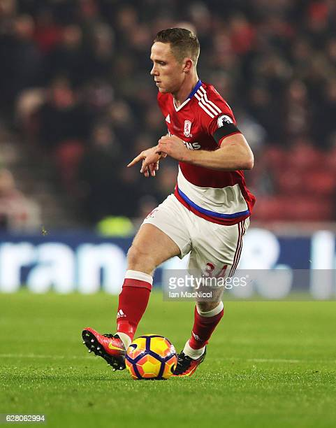 Adam Forshaw of Middlesborough controls the ball during the Premier League match between Middlesbrough and Hull City at Riverside Stadium on December...