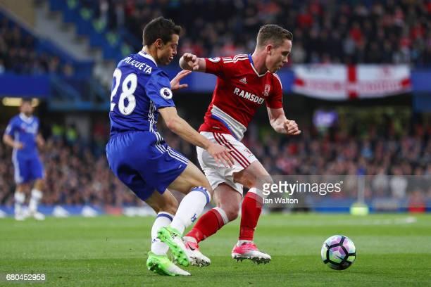 Adam Forshaw of Middlesbrough and Cesar Azpilicueta of Chelsea in action during the Premier League match between Chelsea and Middlesbrough at...