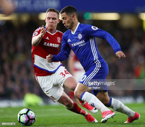 Adam Forshaw of Middlesbrough and Eden Hazard of Chelsea in action during the Premier League match between Chelsea and Middlesbrough at Stamford...