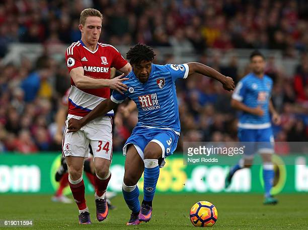 Adam Forshaw of Middlesbrough and Jordan Ibe of AFC Bournemouth battle for possession during the Premier League match between Middlesbrough and AFC...
