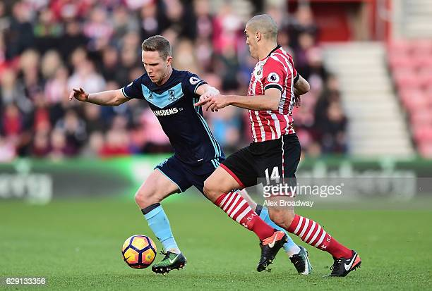 Adam Forshaw of Middlesbrough and Oriol Romeu of Southampton battle for possession during the Premier League match between Southampton and...