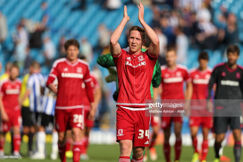 Adam Forshaw of Middlesbrough applauds the fans during the Sky Bet Championship match between Sheffield Wednesday and Middlesbrough at Hillsborough on August 29, 2015 in Sheffield, England.