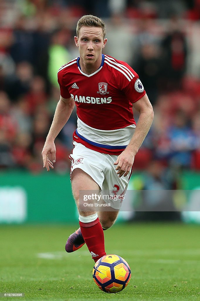 Adam Forshaw of Middlesbrough in action during the Barclays Premier League match between Middlesbrough and AFC Bournemouth at the Riverside Stadium on October 29, 2016 in Middlesbrough, England.